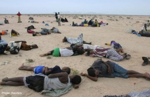 Somali refugees fleeing Yemen.