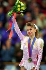 Oksana Baiul, 1994, age 16.  Mandatory Credit: Mike Powell/ALLSPORT