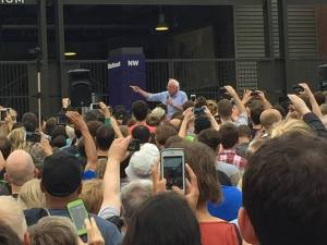 This was taken by my friend Amy, who couldn't actually come inside for the crowd, but Bernie, being a man of the people, came to her.