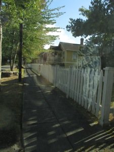Port Gamble's perfect little picket fence. Taken from the safety of my car. With the window rolled up.