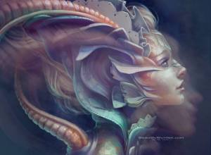 A-beautiful-fantasy-painting-by-Jennifer-Healy-of-a-mermaid-woman
