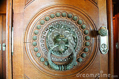 brass-lion-head-door-knocker-indoor-large-shape-circle-made-studs-carved-wooden-much-larger-than-44132743