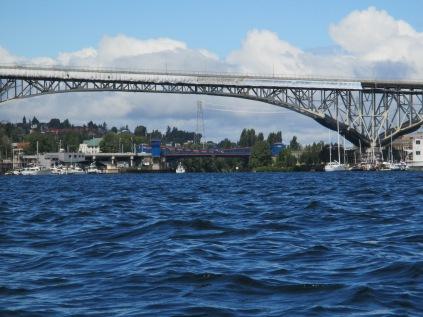 Fremont Bridge beneath Aurora Bridge