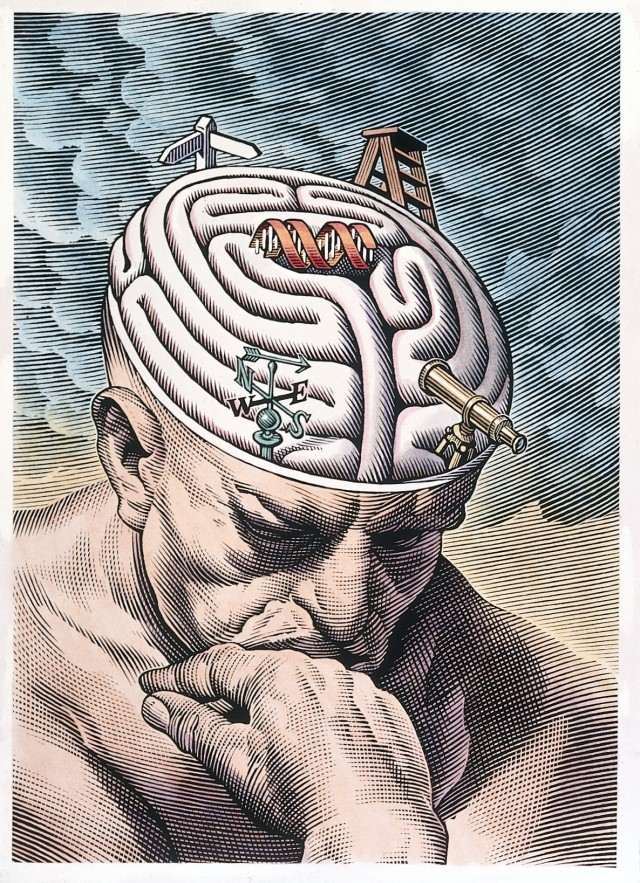 L0027293 The gyri of the thinker's brain as a maze of choices in biom