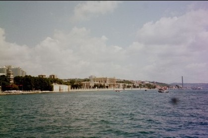 view of Dolmabache palace as we crossed the bosphorus to visit topkapi palace