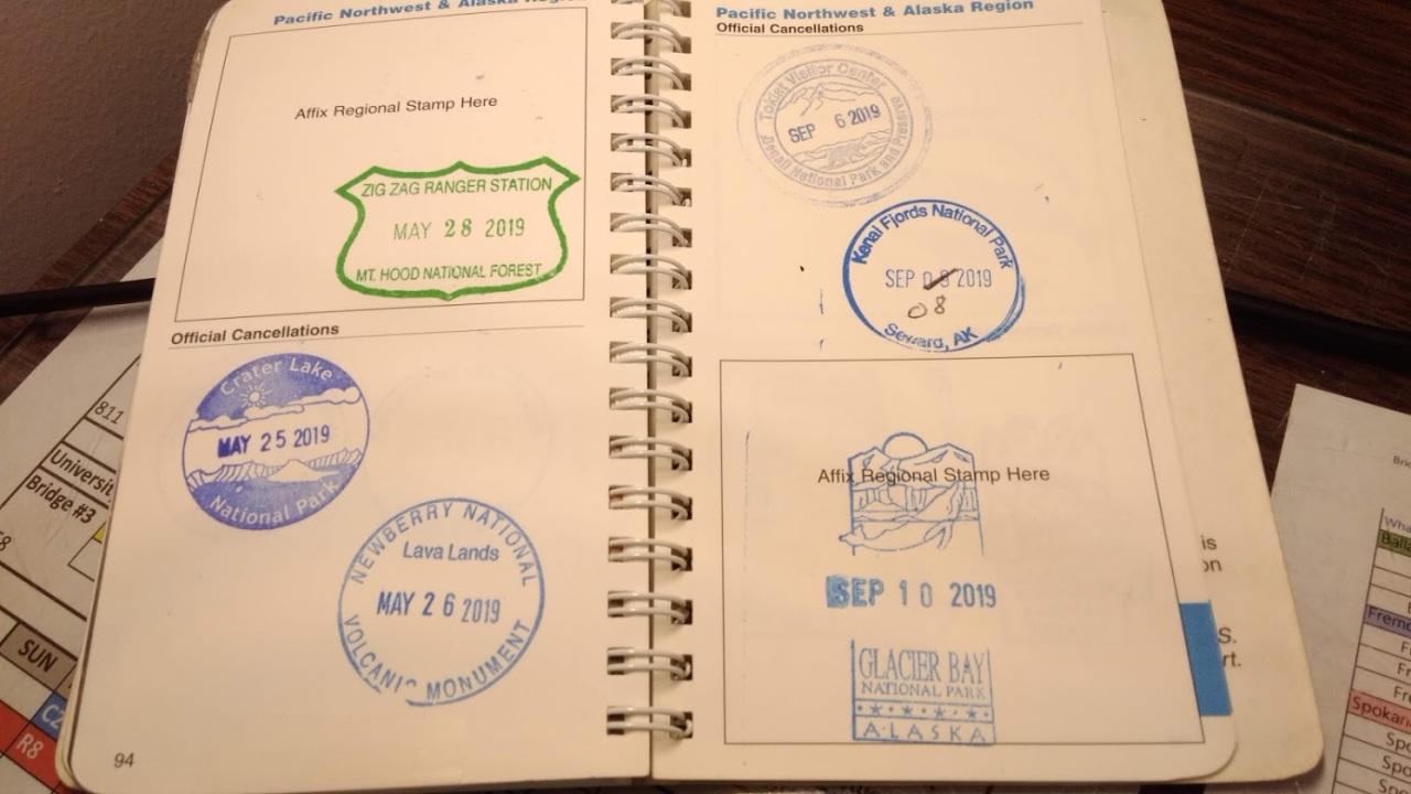 Stamps in my NPS Passport